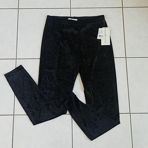 a29021d1c48793 eye candy Pants | Junior Black Velvet Leggings Nwt | Poshmark
